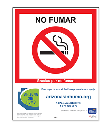 Arizona No-Smoking Poster, Spanish