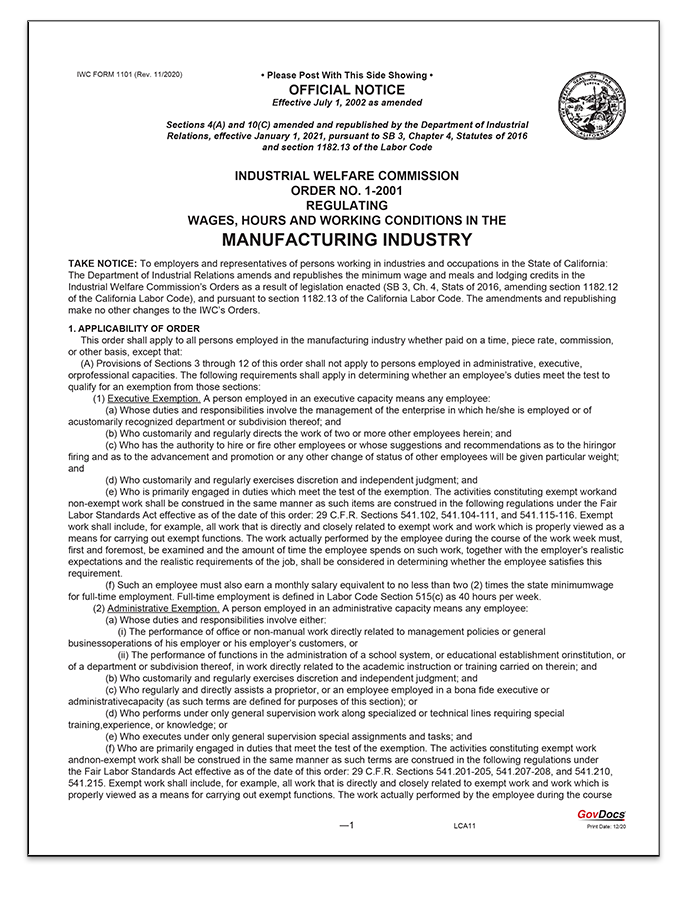 California Paper Wage Order #1: Manufacturing Industry