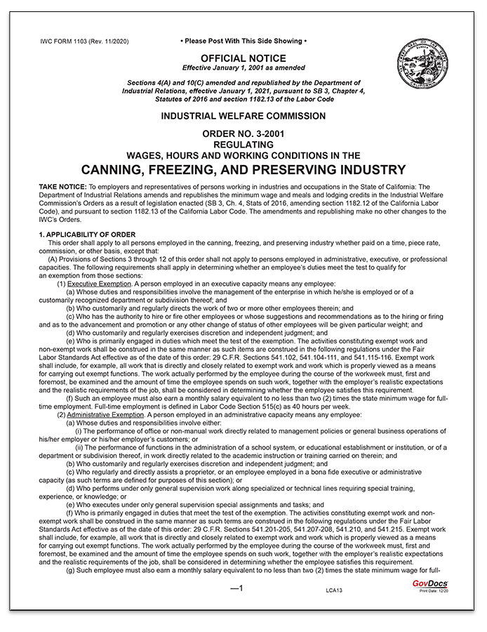 California Paper Wage Order #3: Canning, Freezing and Preserving Industry