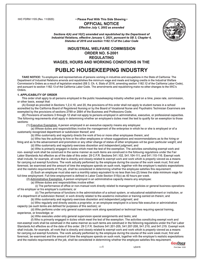 California Paper Wage Order #5: Public Housekeeping Industry