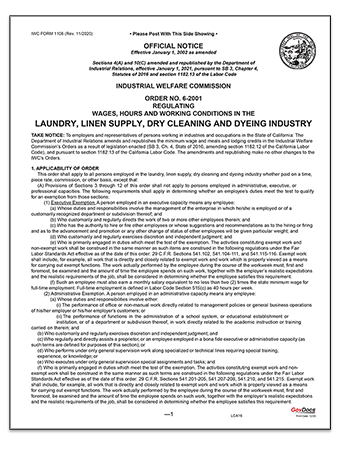 California Paper Wage Order #6: Laundry, Linen Supply, Dry Cleaning and Dyeing Industry