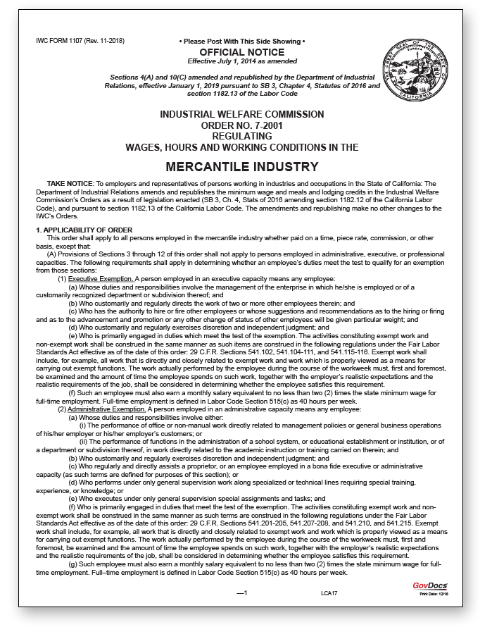 California Paper Wage Order #7: Mercantile Industry