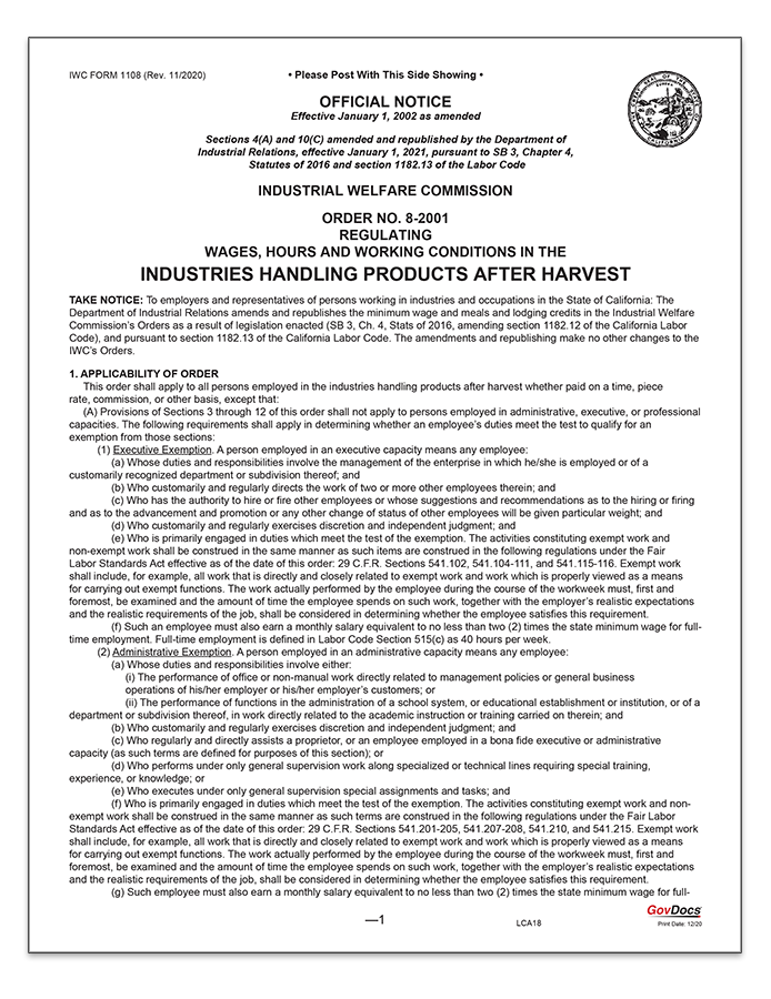 California Paper Wage Order #8: Industries Handling Products After Harvest