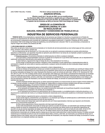 California Paper Wage Order #2: Personal Services Industry – Spanish