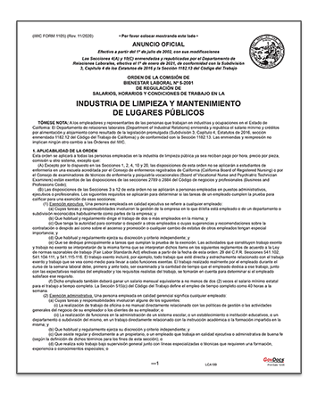 California Paper Wage Order #5: Public Housekeeping Industry – Spanish