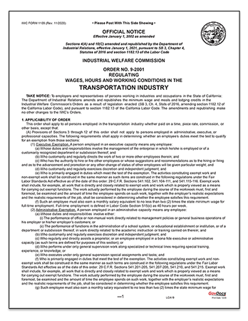 California Paper Wage Order #9: Transportation Industry