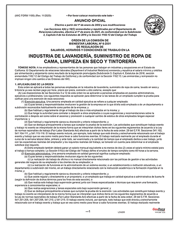 California Paper Wage Order #6: Laundry, Linen Supply, Dry Cleaning and Dyeing Industry – Spanish