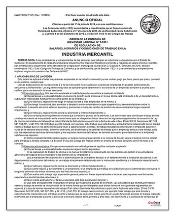 California Paper Wage Order #7: Mercantile Industry – Spanish