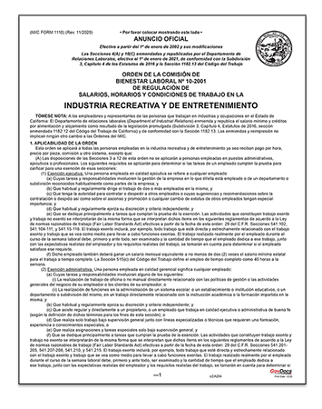 California Paper Wage Order #10: Amusement and Recreation Industry – Spanish