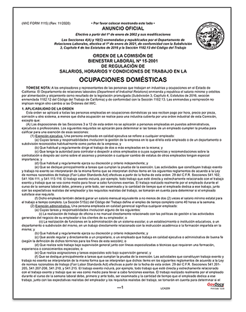 California Paper Wage Order #15: Household Occupations– Spanish