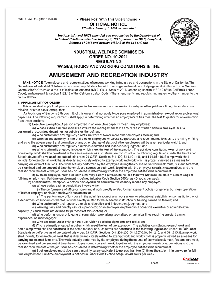 California Paper Wage Order #10: Amusement and Recreation Industry