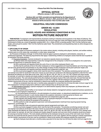 California Paper Wage Order #12: Motion Picture Industry