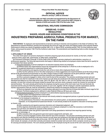 California Paper Wage Order #13: Industries Preparing Agricultural Products for Market, on the Farm