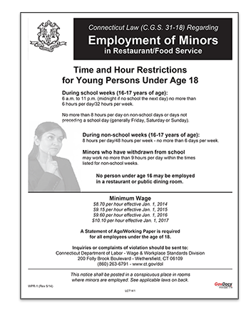 Connecticut Laminated Wage Order #8 for Minors: Restaurant and Food Service Industry