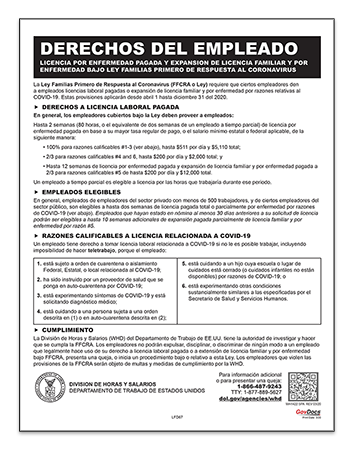 Families First Coronavirus Response Act Poster in Spanish