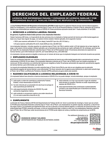 Federal Employee Families First Coronavirus Response Act Poster in Spanish