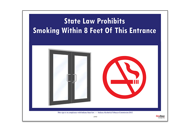 Indiana No Smoking At Building Entrance Poster