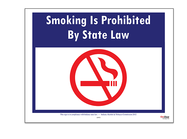 Indiana Smoking Prohibited by State Law Poster