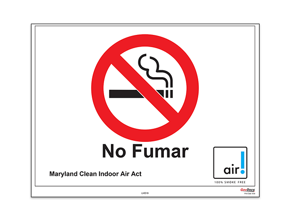 Maryland No-Smoking Poster, Spanish