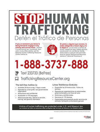 Missouri Human Trafficking Poster