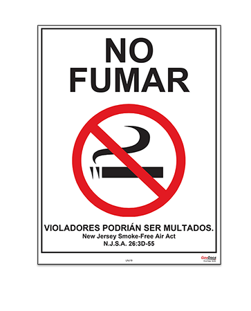 New Jersey No-Smoking Poster, Spanish