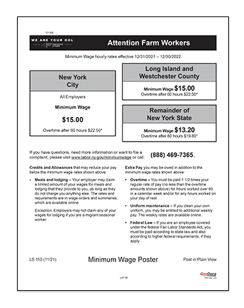 New York Laminated Farm Workers Industry Minimum Wage
