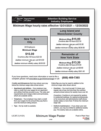 New York Laminated Building Services Industry Minimum Wage