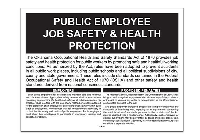 Oklahoma State Public Occupational Safety and Health Poster