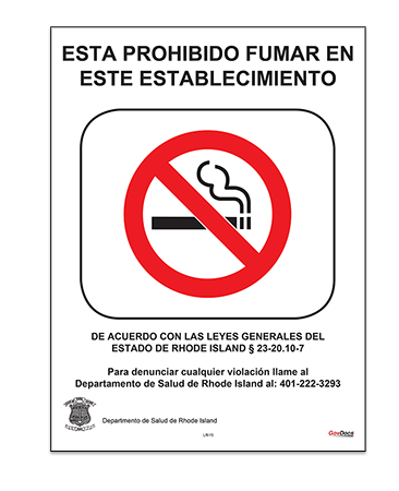 Rhode Island It Is Illegal to Smoke in This Establishment Poster, Spanish