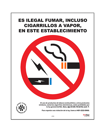 Rhode Island No-Smoking Poster, Spanish