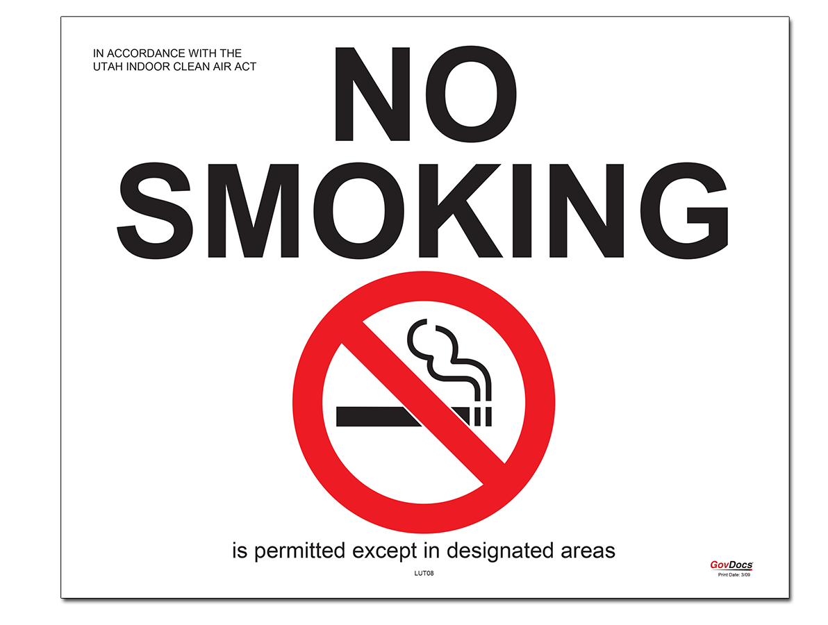 Utah No-Smoking Except in Designated Areas Poster