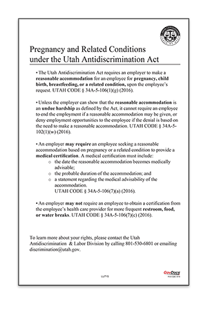 Utah Pregnancy and Related Conditions Under the Utah Antidiscrimination Act Poster