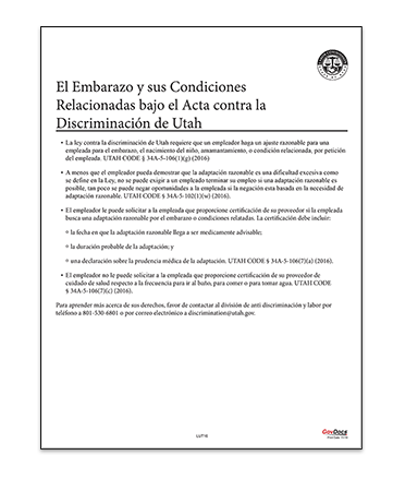 Utah Pregnancy and Related Conditions Under the Utah Antidiscrimination Act Poster in Spanish