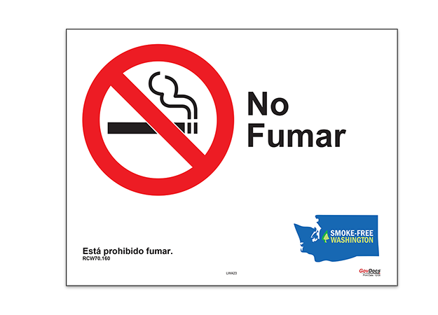 Washington No-Smoking Poster, Spanish