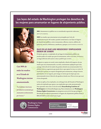 Washington Breastfeeding in Places of Public Accommodations Poster in Spanish