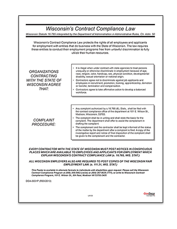 Wisconsin Contract Compliance Law Poster
