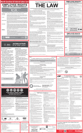 North Carolina State and Federal Laminated Combined Poster