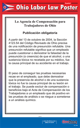Ohio State Laminated State-on-One Poster - Spanish