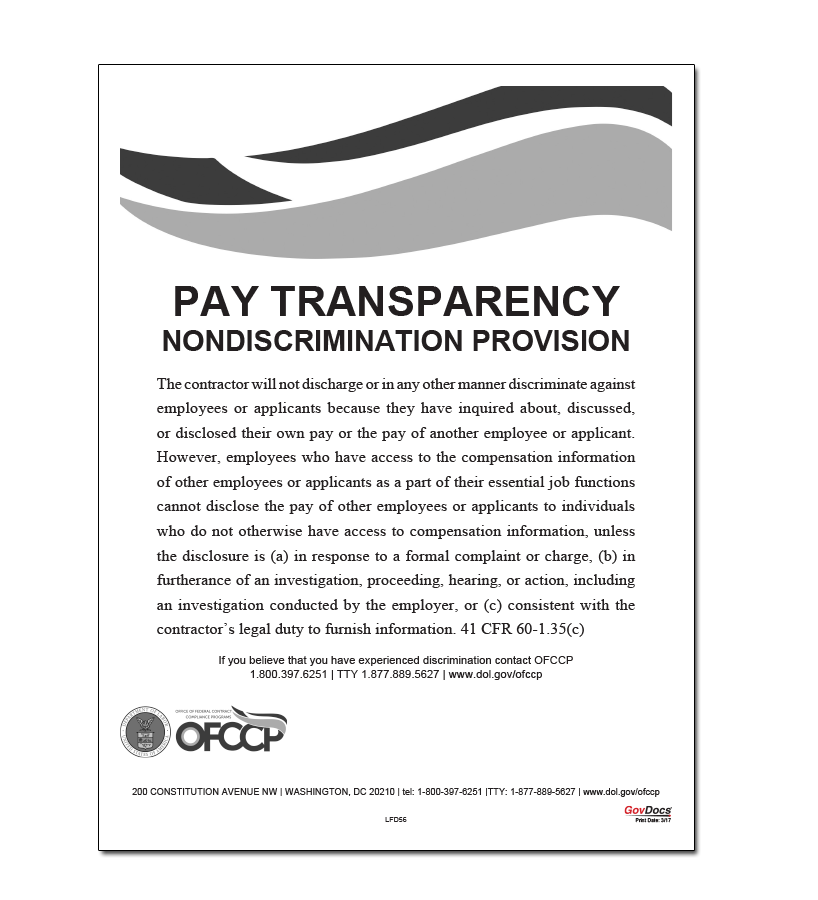 Pay Transparency Nondiscrimination Provision Poster