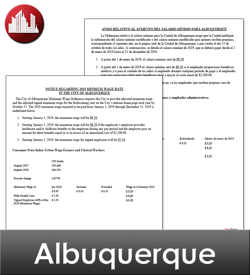 Albuquerque, NM Laminated Workplace Poster Package